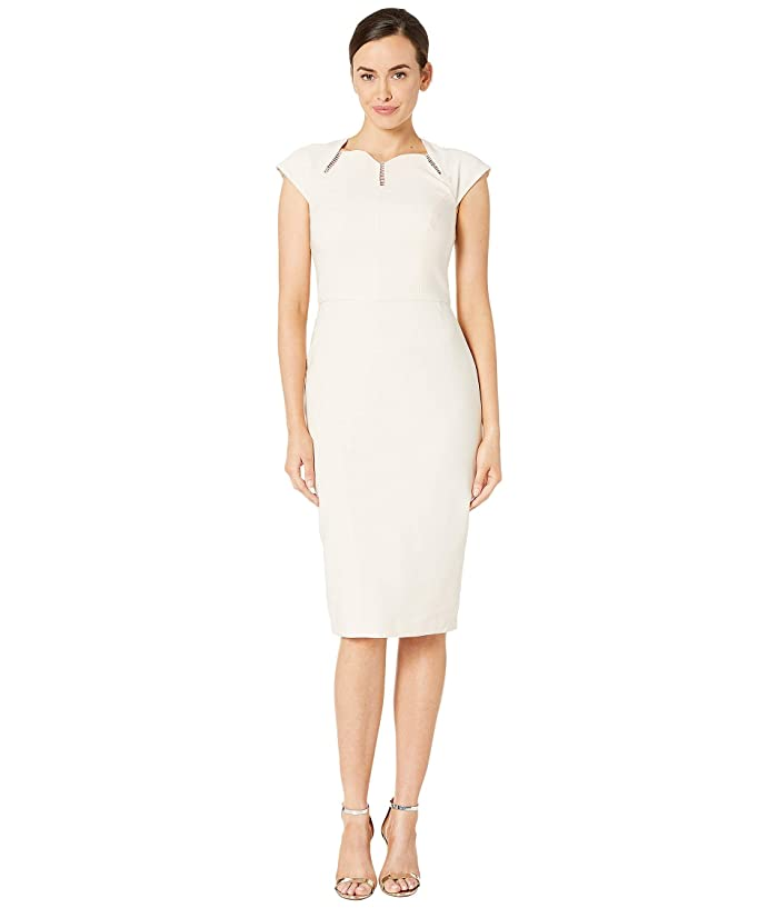 Maggy London  Dream Crepe Sheath Dress with Ladder Trim Detail (Oyster) Womens Dress