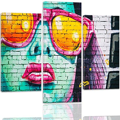 Feeby. Cuadro en lienzo - 3 partes - Cuadros decoración, Imagen impresa en lienzo, Canvas, Tipo A, 90x100 cm, GRAFITI, MUJER, MULTICOLOR