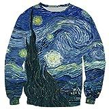 Männer 3D Hoodies Gemälde Starry Night-Druck-T-Shirt Sweatshirt Jogging-Hosen-beiläufige Reißverschluss-Mantel Sweatshirt 5 M