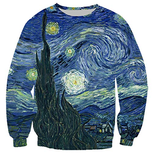 Männer 3D Hoodies Gemälde Starry Night-Druck-T-Shirt Sweatshirt Jogging-Hosen-beiläufige Reißverschluss-Mantel Sweatshirt 5 XXXXXL