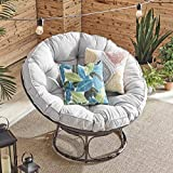 Barton Papasan Chair Round Chair with Soft Cushion Living Room Chair Leisure Chair Indoor Outdoor Use (Grey)