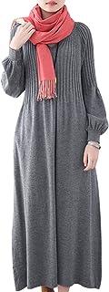 Youlee Mujer Invierno Otoño Vestido Jersey de Lana Manga Larga Maxi Vestidos