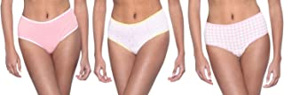 Dice Patterned Contrast-Binding Mid-Rise Briefs for Women