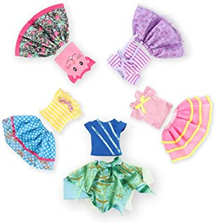 Wakao Set of 5 Color-Topic Doll Clothes for 14.5 Inch American Girl Wellie Wishers Dolls (Purple,Yellow,Blue,Pink,Green)