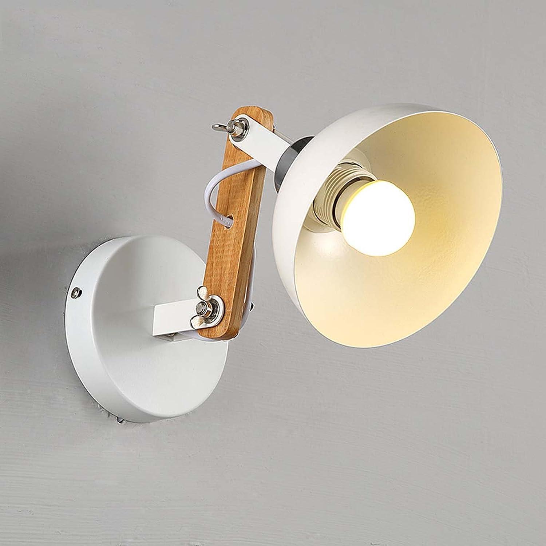 TAO-lumière Vintage Américain Rural Couloir Applique Murale pour Restaurant Chambre Bar Chambre LED Lampe de Chevet En Bois Massif, Blanc