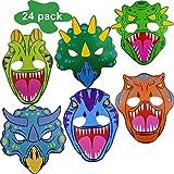BESTZY Máscaras de Dinosaurio 24 Piezas Máscaras para Fiestas Máscaras de Espuma para Dinosaurio Juegos de rol Fiesta de cumpleaños