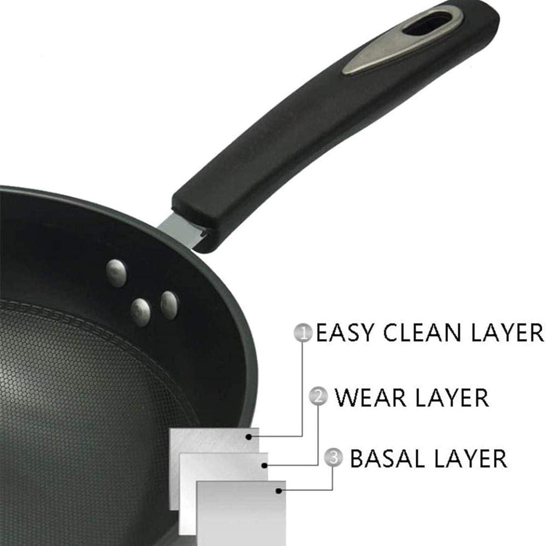 WSDSX Poêle en Fer Non revêtue, avec Oreilles latérales Poêle antiadhésive de Grande capacité, Conduction Thermique Uniforme, poignée en bakélite Anti-brûlure Black