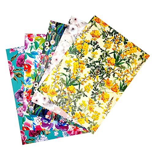 ARCA Geschenkpapier für Geschenkverpackung 5 Blatt 100 x 70 cm 100% Papier Blumen (Blume 2)