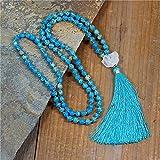 collana vintage 8mm pietre naturali pietre naturali collana lunga nappa donne lariat yoga collana religiosa gioielli fatti a mano