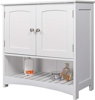 eSituro SBP0022 Meuble de Salle de Bain sans lavabo,Meuble de Rangement en MDF Blanc