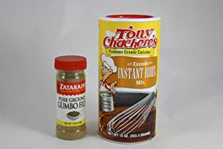 Tony Chachere's Creole Instant Roux Mix and Zatarains Pure Ground Gumbo File Bundle- 2 Items