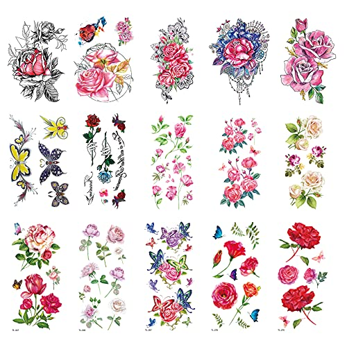 KOMMOK 15 Sheet Waterproof Temporary Tattoos, Large 3D Sexy Realistic Flowers Rose Peony Water Transfer Stickers, Body Art Temporary Tattoo for Kids Adults Men and Women