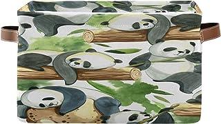 Tropicallife F17 Panier de rangement en toile pliable avec poignée Motif panda chinois