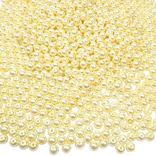 TOAOB 1000 Piezas de Cuentas de Vidrio de 4 mm Amarillo de Perlas de Imitación Redondas Abalorios de Cristal para Manualidades y Fabricación de Joyas Pulsera Collar