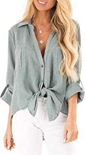 Howely Women Long Sleeve Linen Lounge Loose Button Down Blouse T-Shirt