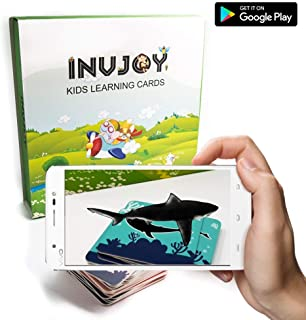 INVJOY AR - Augmented Reality Flash Cards for Kids - Sea Creatures Category - Educational Toys for Preschoolers - 4D Flashcards - Animals, Sea Creatures, Vehicles, Food, Action Verbs (Sea Creatures)