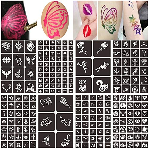 Face Paint Stencils Kit for Kids, Henna Tattoo Stencils Kit, Body Painting Temporary Tattoo Stencils Sticker, Reusable Henna Stencils (8 Sheets 218 Design)
