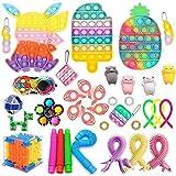 QASIMOF 30Pcs Fidget Toys Pack, Fidget Toy Pack Pas Cher avec fossettes, Fidget Toy Pack, Push Pop Bubble Sensory Fidget Toys, Simple Dimple Fidget Toys Set pour Enfants et Adultes (3)