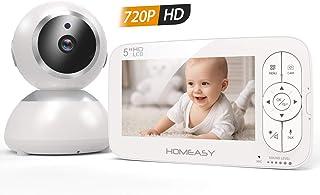 """homeasy Cámara bebe 720P, 2500mAh Monitor de Bebé HD 5""""P"""