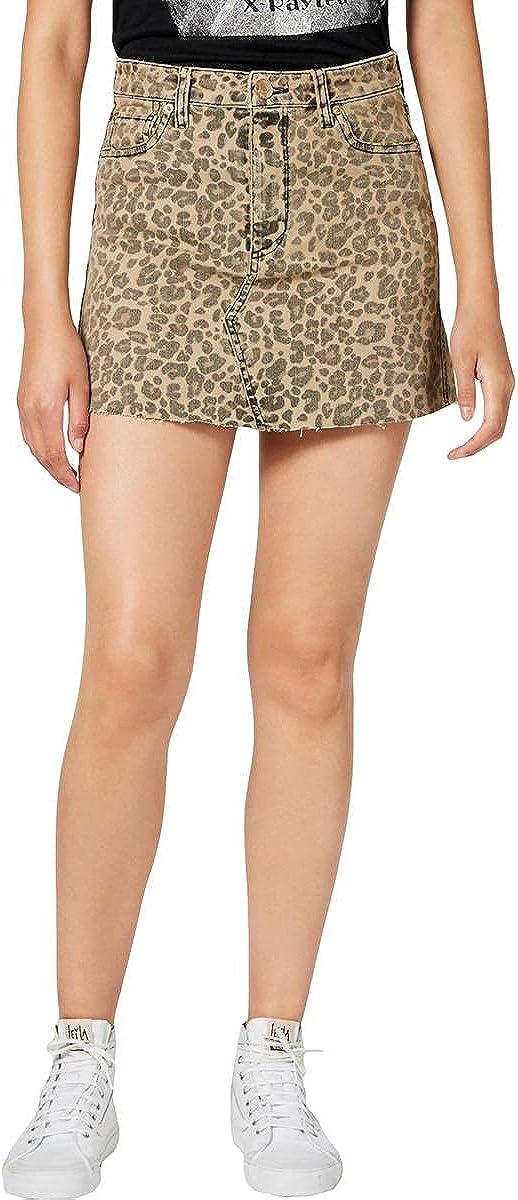 STS Blue Womens Juniors Emily Denim Cheetah Mini Skirt