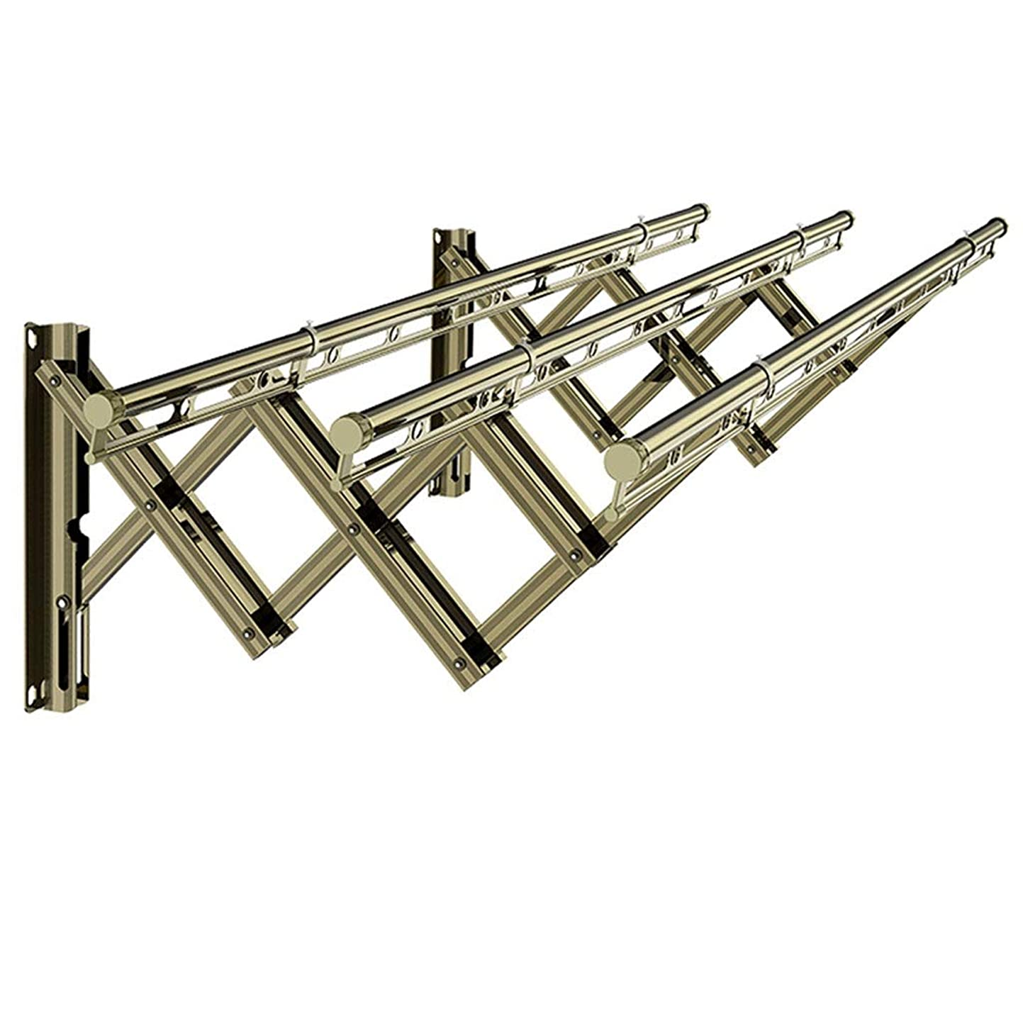 肥満署名専門知識SN 乾燥ラックエアラーウォールマウント、3レール拡張可能衣類エアラータオルラックバルコニー屋外コートハンガーラックドライヤーステンレス鋼