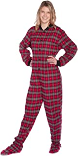 Red & Grey Plaid Flannel with Small Hearts Adult Footed Pajamas w/Drop Seat