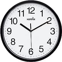 Yoobure 10 Silent Quartz Decorative Wall Clock Non-Ticking Classic Digital Clock Battery Operated Round Easy to Read Home/Office/School Clock (Black)