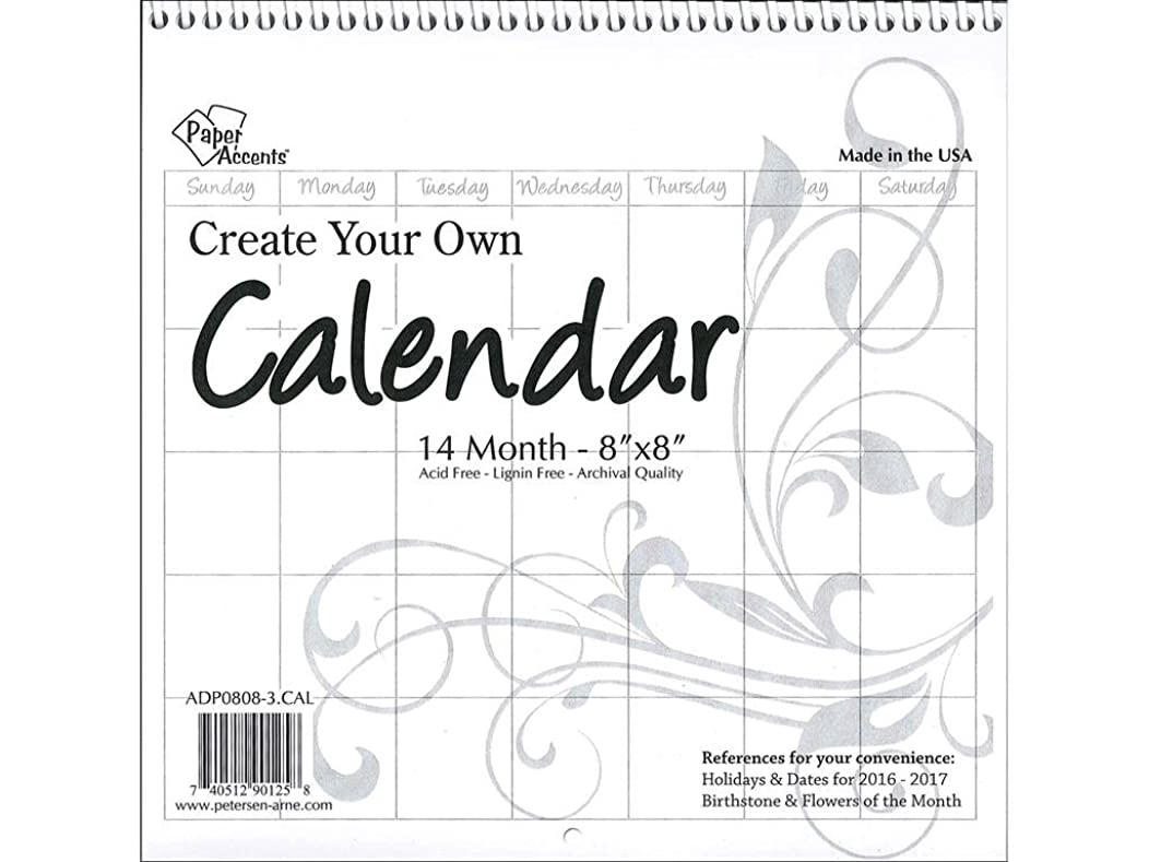 Accent Design Paper Accents CYO Calendar 8x8 Blank Wht Calendar8x8