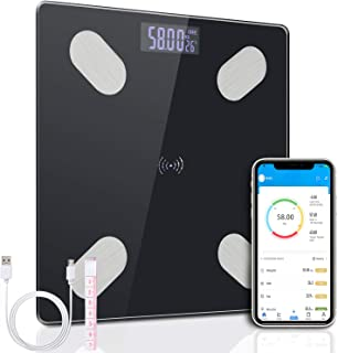 flintronic Bascula de Baño Digital, Báscula de Grasa Corporal Bluetooth Smart App, Bascula Electrónica con 12 Mediciónes de Peso, Monitores de Composición Corporal, Porcentaje de Masa Muscular, BMI