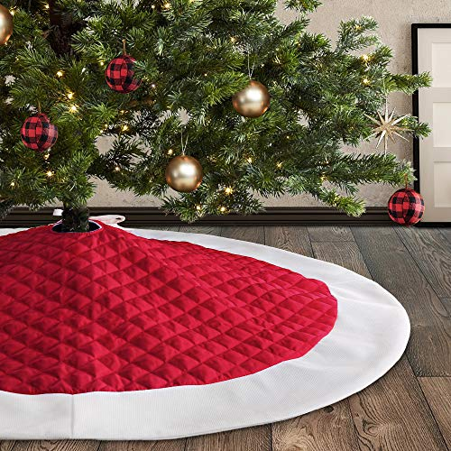 Meriwoods Quilted Tree Skirt, Red & White