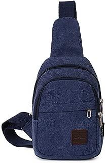 YXHM AU Men's Chest Bag Canvas Bag Messenger Bag Men's Bag Shoulder Bag Chest Small Backpack Casual Pockets Fashion Pockets (Color : Blue)