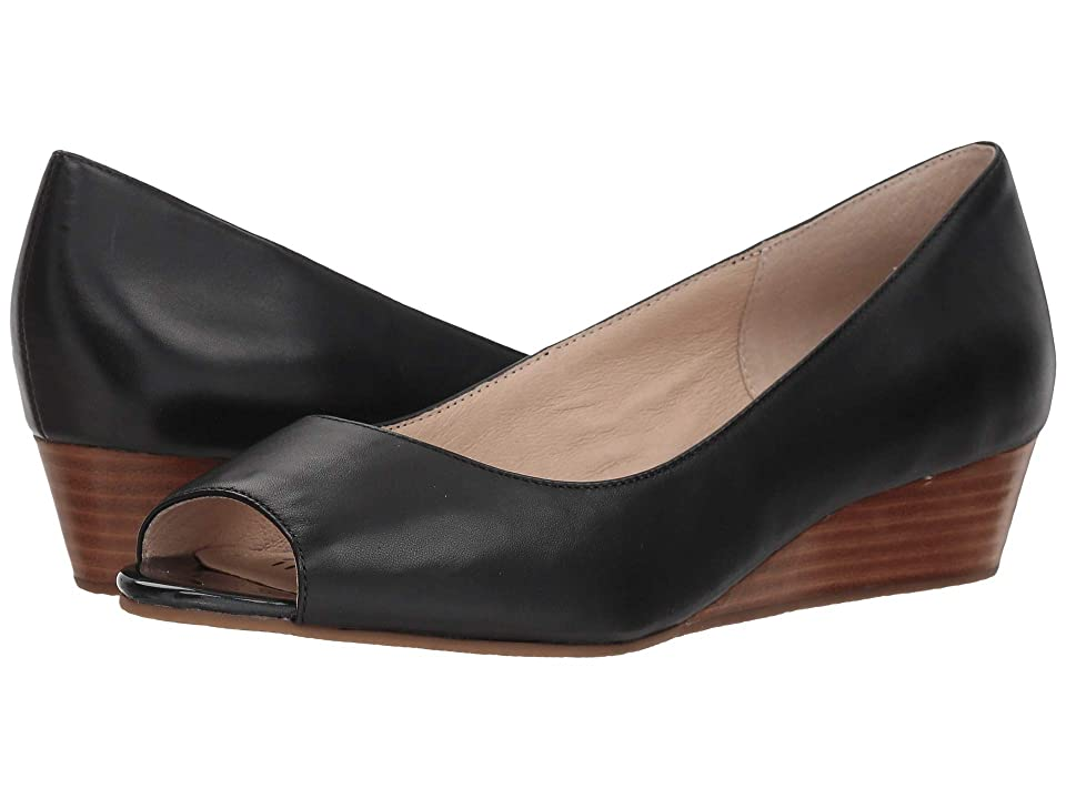 1940s Style Shoes, 40s Shoes Sudini Willa Black Leather Womens Wedge Shoes $130.00 AT vintagedancer.com