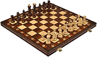Handmade European Wooden Chess Set with Pcs6 Inch Board and Hand Carved Chess Pieces