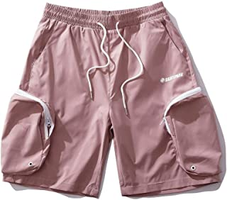 Shorts Summer Thin Loose Boys and Girls Shorts Fashion Shorts Straight Sports Shorts (Color : Pink, Size : L)