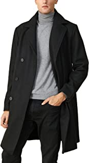 Men's Wool Trench Coat Winter Long Jacket Single Breasted Slim Fit Warm Overcoat Business