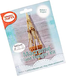 Macramé White and Gold Plant Hanger Crafting Kit – Includes Materials and Instructions