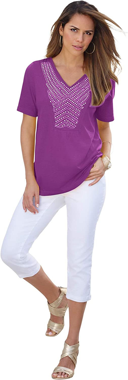 Roamans Women's Plus Size Embellished Sequin V-Neck Tee