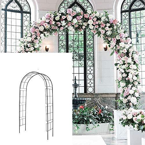 PULLEY - Arco de jardín de metal H, cenador de jardín de hierro forjado, enrejado alto de uva, pérgola arcos de jardín y cenadores para patio, jardín, fiestas de novia, color negro H