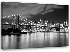 F FEEBY WALL DECOR Cuadro en Lienzo DIY Skyline XXL Decoración New York Blanco y Negro 140x100 cm