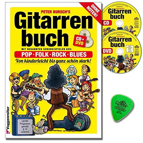 Gitarrenbuch Band 1 von Peter Bursch mit Original Dunlop-Plektrum Neuausgabe 2015 ehrprogramm/Lehrvideo gemäß §14 JuschG