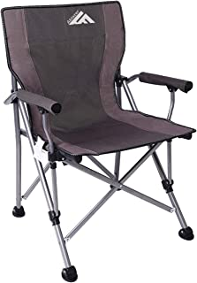 Ablazer Camping Chair Ergonomic High Back Support with Pouch Outdoor Portable Folding Quad Chair,Heavy Duty Padded Armrest(Free Cup Holder)