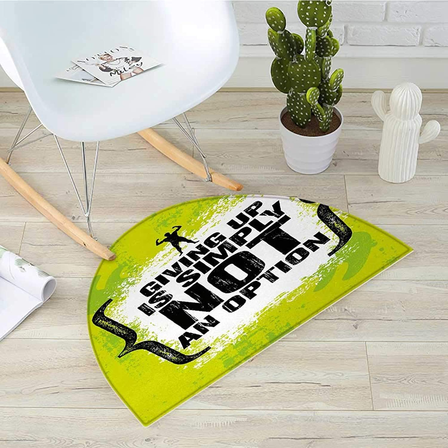 Fitness Semicircle Doormat Giving Up is Simply Not an Option with Muscular Champion Man Grunge Halfmoon doormats H 39.3  xD 59  Apple Green Black White