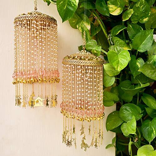 Abhika Creations Pink Glass Stones Baraat Kaleere Handmade Indian Bridal Jewelry Traditional Bridal Punjabi Wedding Bride Kaleere Designer Pair Of 2 Baraat Charms Kaleere