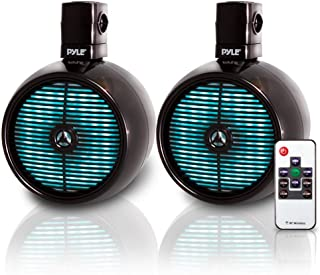 Pyle Marine Speakers - 8 Inch Waterproof IP44 Rated Wakeboard Tower and Weather Resistant Outdoor Audio Stereo Sound Syste...