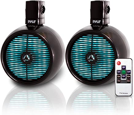 $160 » Pyle Marine Speakers - 8 Inch Waterproof IP44 Rated Wakeboard Tower and Weather Resistant Outdoor Audio Stereo Sound System with Built-in LED Lights - 1 Pair in Black (PLMRWB858LE)