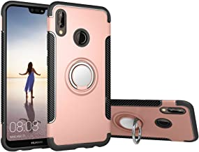 Case Compatible with Huawei P20 Lite DWaybox Hybrid Back Case Cover with 360 Degree Rotation Ring Holder for Huawei P20 Lite/Nova 3E 5.84 Inch Compatible with Magnetic Car Mount Holder (Rose Gold)