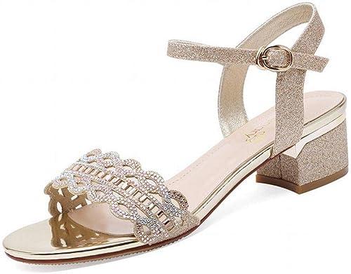 LTN Ltd - sandals Sandales à Boucle à Un Bouton, Bouton, Femme épaisse, avec la Fée Vent Chaussures D'été pour Femmes Chaussures pour Femmes de Grande Taille, Or, 36  se hâta de voir