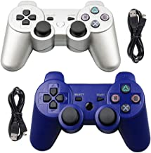 Tidoom PS3 Controller 2 Pack Wireless Bluetooth 6-Axis Gamepad Controllers Compatible for Playstation 3 Dualshock 3 Blue+Sliver