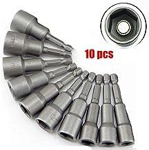 Malayas Juego de 10 piezas de Tuercas Magnéticas, Llaves de Vaso Hexagonales, Adaptador Magnético de Brocas de 6-19mm, de 1/4 Pulgada para Hexágono/ Atornillador/ Taladro