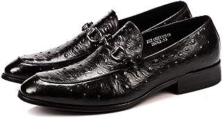 Enjoy4Beauty - Zapatos de vestir para hombre con textura de avestruz (color: negro, talla: 46)